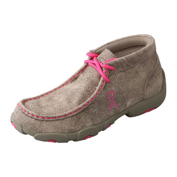 TWISTED X Kids Driving Dusty Tan/Neon Pink Moccasins (YDM0007)