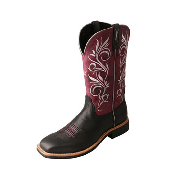 TWISTED X Womens Top Hand Softy Black/Maroon Boot (WTH0010)