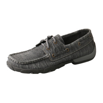 TWISTED X Womens Driving Charcoal Boat Shoe Moccasins (WDM0102)