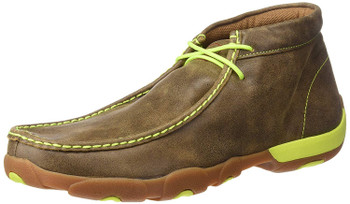 TWISTED X Mens Driving Bomber/Neon Yellow Moccasins (MDM0026)