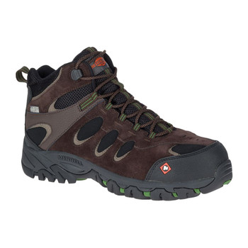 MERRELL Men's Ridgepass Bolt Mid Waterproof Comp Toe Espresso Work Boot