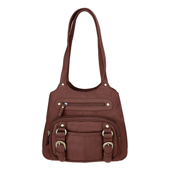ROMA LEATHERS Moto Leather Concealment Tote Gun Left And Right Hand Bag (7096-BRN)
