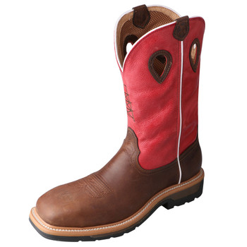 TWISTED X Men's Comp Toe Lite Western Distressed Latigo/Red WP Work Boot (MLCCW01)