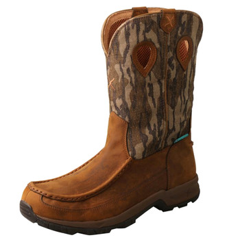 TWISTED X Men's 11in Pull-On Distressed Saddle/Camo WP Hiker Boot (MHKBW02)