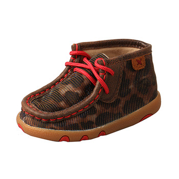 TWISTED X Infant Shiny Leopard/Red Chukka Driving Moc (ICA0014)
