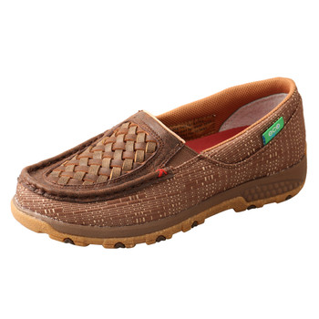 TWISTED X Women's Woven Brown/Coffee Slip-On Driving Moc with CellStretch (WXC0009)