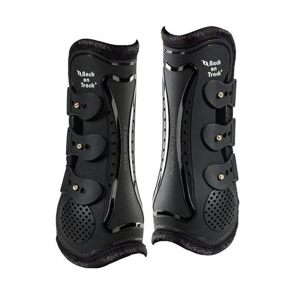 BACK ON TRACK Royal Tendon Open Front Full Black Boot (20740003)