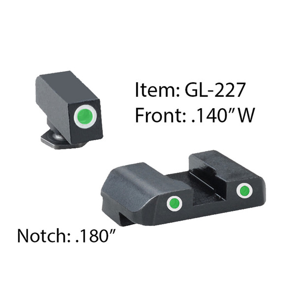 AMERIGLO For Glock Pro Style Glk 17-39 Green Tritium with White Outline Front and Rear Sights (GL-227)