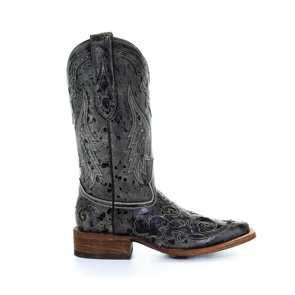 CORRAL Womens Black Snake Inlay Boots (A2402-LD)