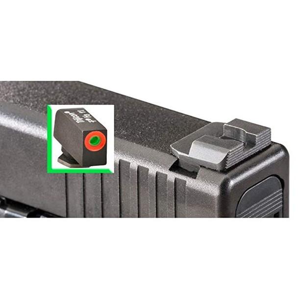 AMERIGLO Green tritium Orange Outline Black Serrated Rear For Glock: 42,43 Hackathorn Sights (GL-436)