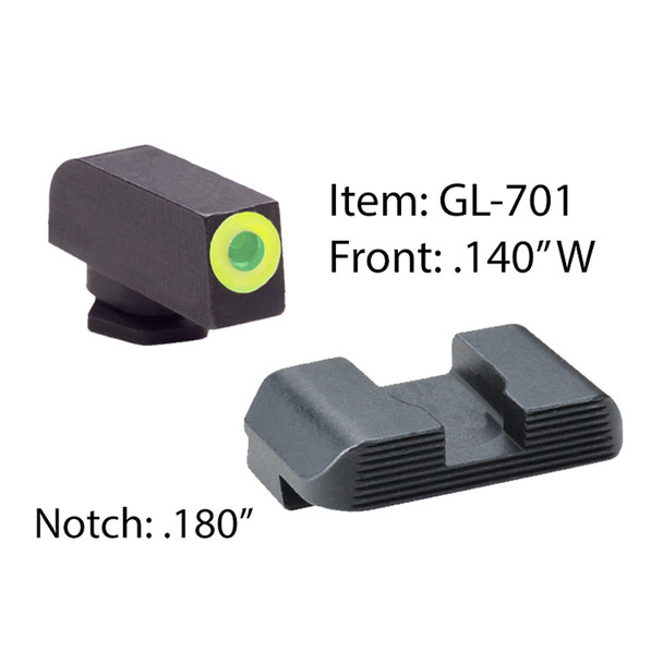 AMERIGLO For Glock Protector Green Tritium LumiGreen Outline Front and Black Rear Sights (GL-701)