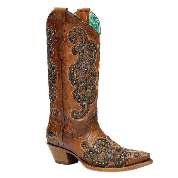 CORRAL Women's Overlay Embroidery and Studs Boot (E1508-LD)