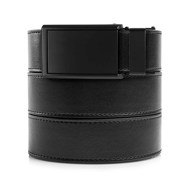 SLIDEBELTS Mens Vegan Black Leather With Matte Black Buckle Belt (BLK2MAT-MIX-46-50)