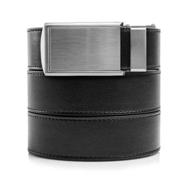 SLIDEBELTS Mens Vegan Black Leather With Silver Buckle Belt (BLK2SIL-3XL)