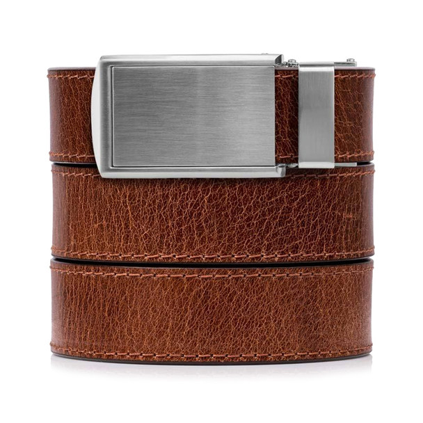 SLIDEBELTS Mens Rustic Cayenne Leather Silver Buckle Belt (CAYENNESIL)
