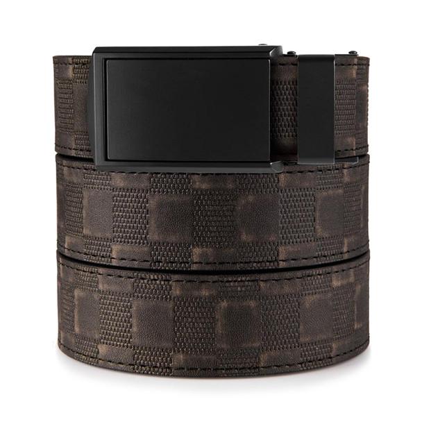 SLIDEBELTS Mens Distressed Vegan Leather Checkered Matte Black Buckle Belt (CHK2MTBLK)