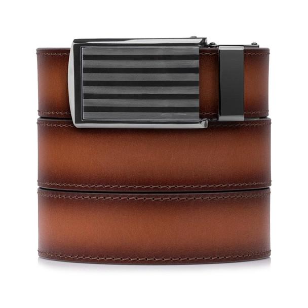 SLIDEBELTS Cognac Premium Leather Bar Striped Buckle Belt (COGNACBAR)
