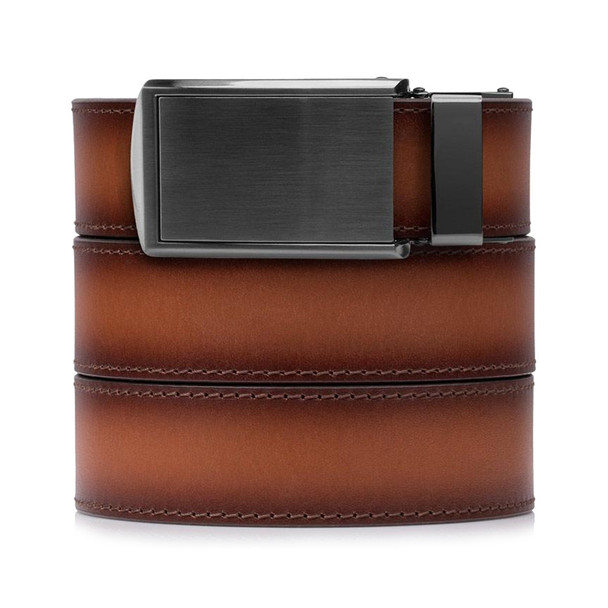 SLIDEBELTS Cognac Premium Leather Gunmetal Buckle Belt (COGNACGUN)
