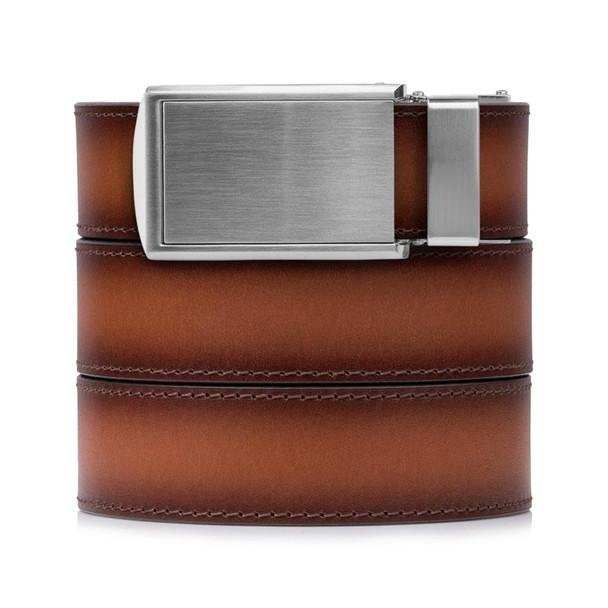 SLIDEBELTS Cognac Premium Leather Silver Buckle Belt (COGNACSIL)