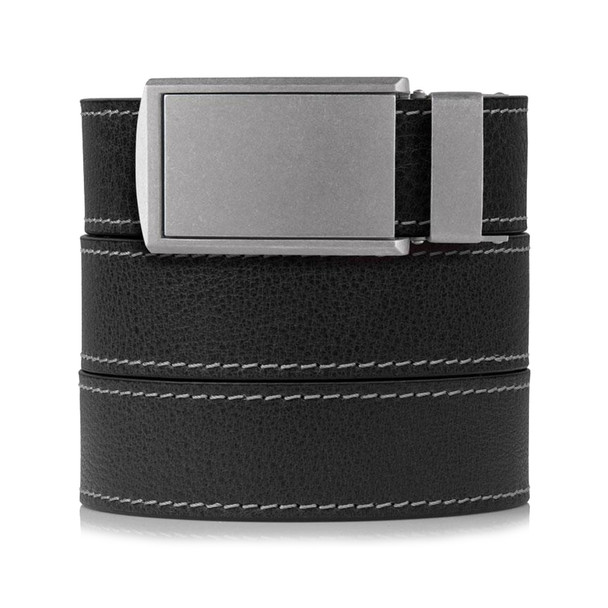 SLIDEBELTS Mens Ash Leather Zinc Buckle Belt (CONTRASTASHZIN)