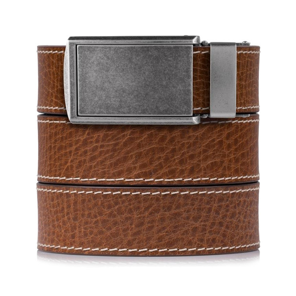 SLIDEBELTS Mens Bourbon Rustic Leather Graphite Buckle Belt (CONTRASTBOUGRA)