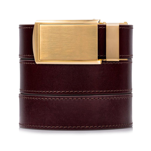 SLIDEBELTS Cordovan Premium Leather Brushed Gold Buckle Belt (CORDOVANGOLD)
