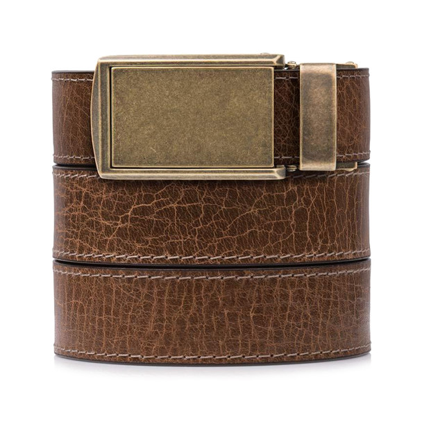 SLIDEBELTS Mens Rustic Hickory Leather Brass Buckle Belt (HICKORYBRASS)