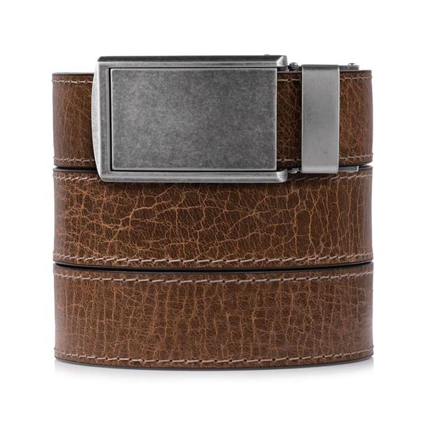 SLIDEBELTS Mens Rustic Hickory Leather Graphite Buckle Belt (HICKORYGRPH)