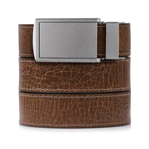 SLIDEBELTS Mens Rustic Hickory Leather Zinc Buckle Belt (HICKORYZINC)