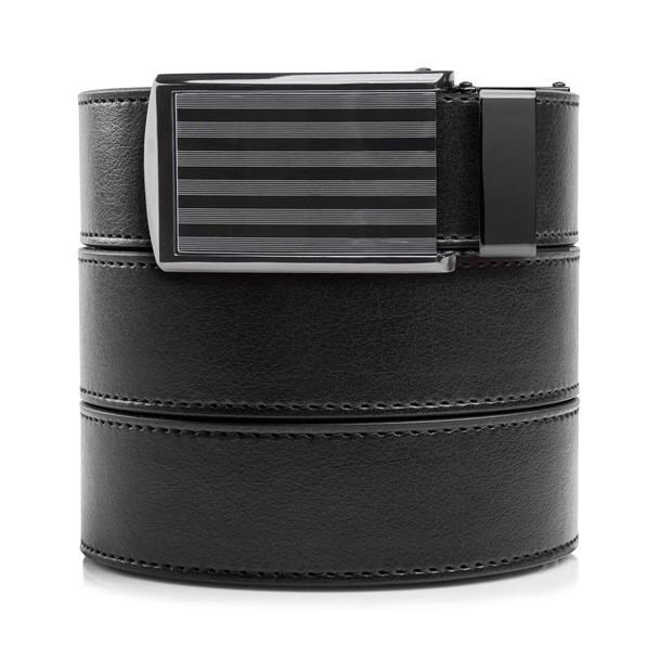 SLIDEBELTS Mens Vegan Black Leather With Bar Striped Buckle Belt (LTH-RAT-BLK-STP-BAR)