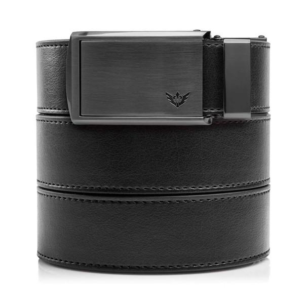 SLIDEBELTS Mens Vegan Black Leather With Winged Gunmetal Buckle Belt (LTH-RAT-BLK-WGML)