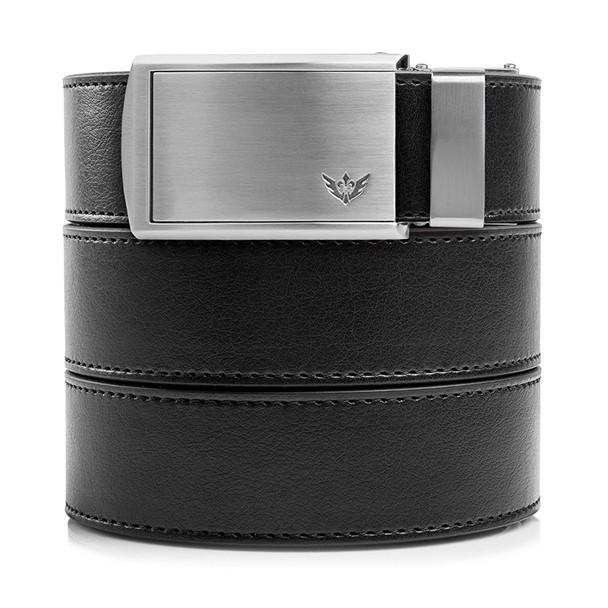 SLIDEBELTS Mens Vegan Black Leather With Winged Silver Buckle Belt (LTH-RAT-BLK-WSLV)