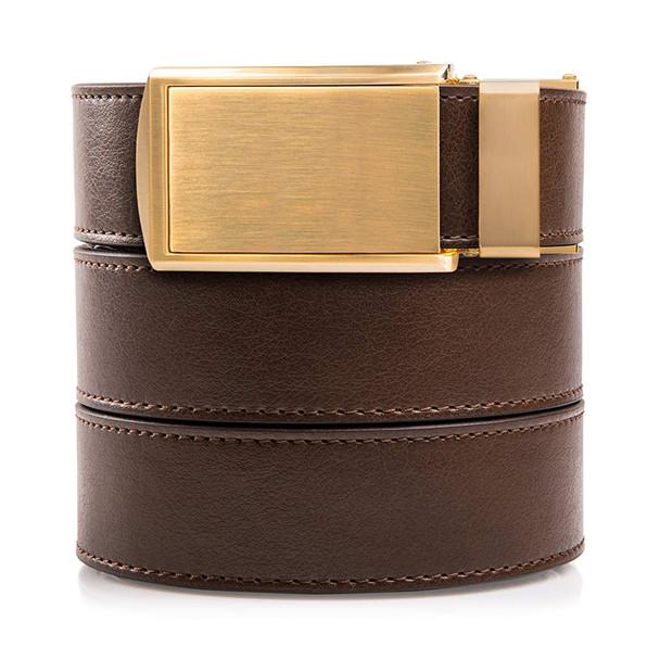 SLIDEBELTS Mens Vegan Mocha Brown Leather Brushed Gold Buckle Belt (LTH-RAT-MBRN-BGLD)