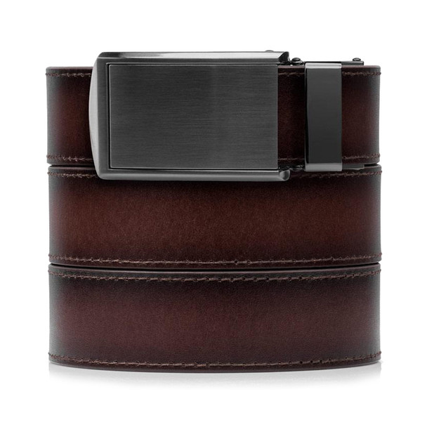 SLIDEBELTS Mahogany Premium Leather Gunmetal Buckle Belt (MHGGUN)
