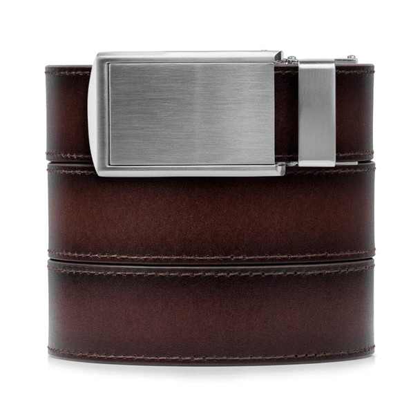 SLIDEBELTS Mahogany Premium Leather Silver Buckle Belt (MHGSIL)