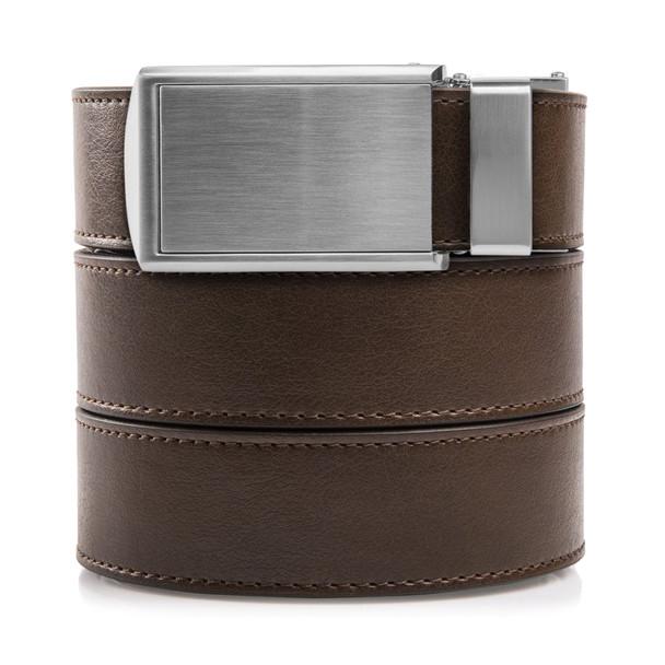 SLIDEBELTS Mens Vegan Mocha Brown Leather Silver Buckle Belt (MOCHA2SIL-3XL)