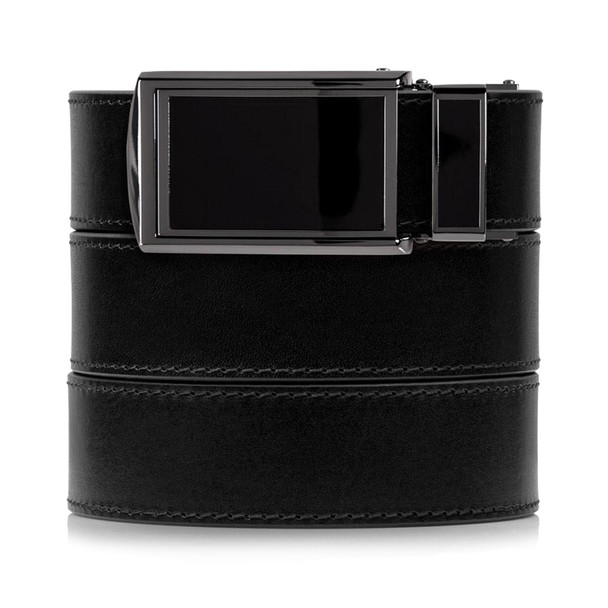 SLIDEBELTS Onyx Premium Leather Black Buckle Belt (ONYX2BLK)