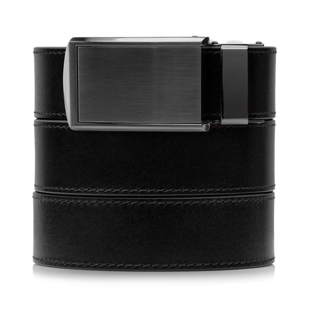 SLIDEBELTS Onyx Premium Leather Gunmetal Buckle Belt (ONYX2GUN)