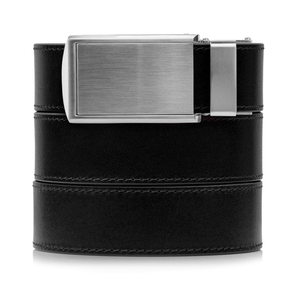 SLIDEBELTS Onyx Premium Leather Silver Buckle Belt (ONYX2SIL)