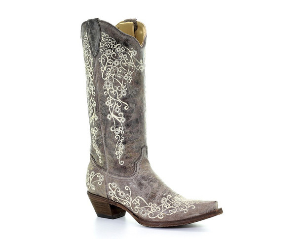 CORRAL Womens Snip Lisa Bone Embroidery Brown Boots (A1094-LD)