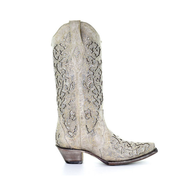 CORRAL Womens Martina Glitter Inlay and Crystals White Boots (A3322-LD)