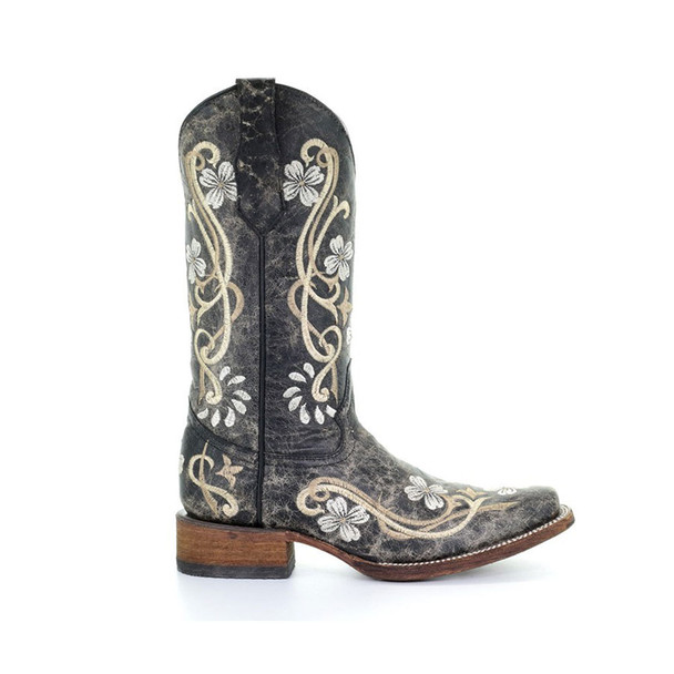 CORRAL Womens L5241 Black/Multi Color Floral Embroidery Boots (L5241-LD)
