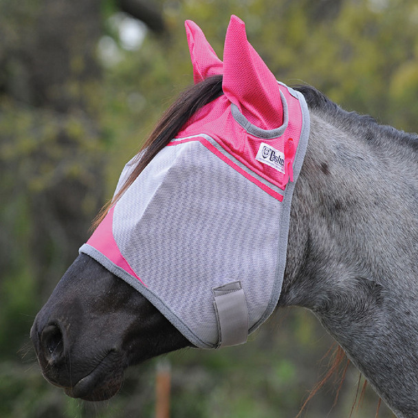 CASHEL Crusader Standard Small Horse/Arab Breast Cancer Pink Fly Mask with Ears (CFMASE-PNK)