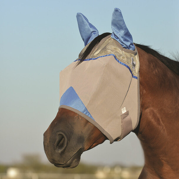 CASHEL Crusader Standard Horse Wounded Warrior Blue Fly Mask with Ears (CFMHSE-BL)