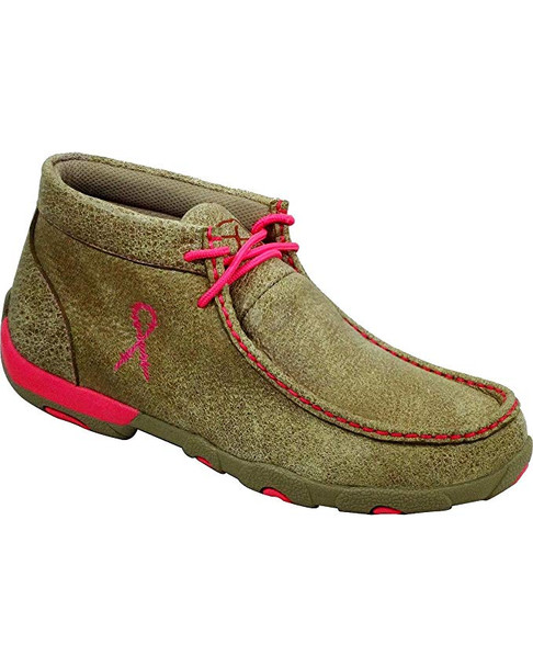 TWISTED X Womens Driving Dusty Tan/Pink Moccasins (WDM0012)