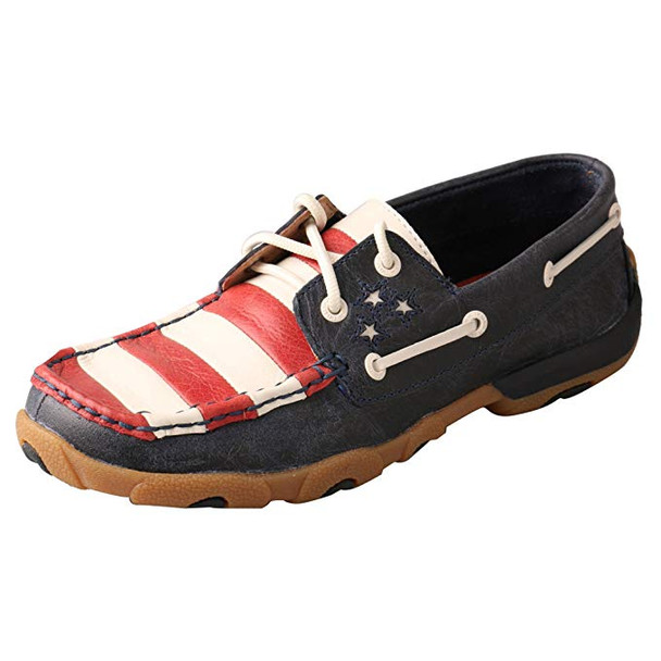 TWISTED X Womens Driving Blue/Red Moccasins (WDM0017)