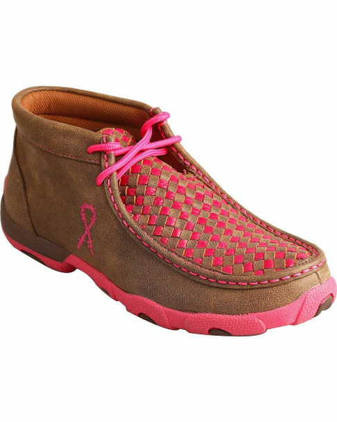 TWISTED X Womens Driving Bomber/Neon Pink Moccasins (WDM0026)