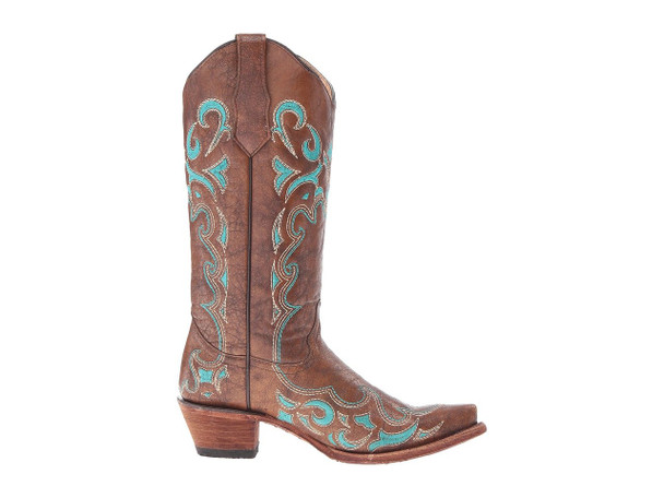 CORRAL Womens L5193 Brown/Turquoise Side Embroidery Boots (L5193-LD)