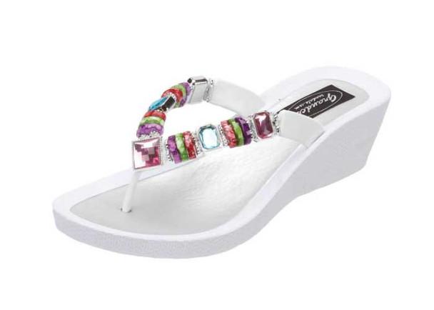 GRANDCO Women's Rainbow Wedge White Thong Sandal (26462E-LD-WT)