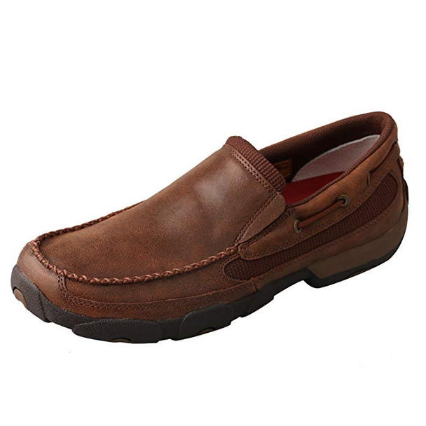 TWISTED X Mens Slip-on Driving Brown Moccasins (MDMS009)